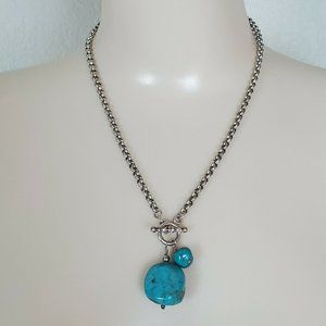 Italy 925 Sterling Silver Turquoise Bead Necklace